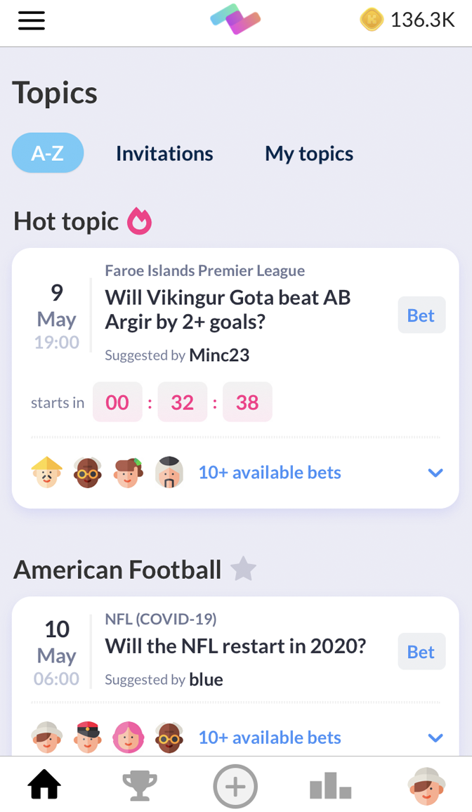 PeerBet - Topics screen